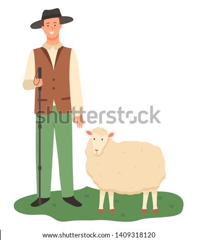 Shepherd with sheep vector, isolated male wearing uniform and hat on head holding wooden stick and tending for sheep, flat style breeding mammal care