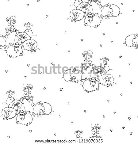 shepherdess and sheep vector