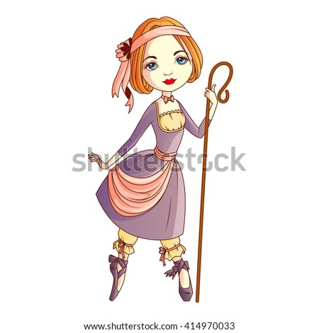 shepherdess character isolated