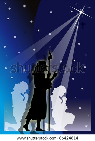 shepherds' illustration with starry blue bottom