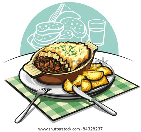 shepherds pie with sauteed potatoes - stock vector