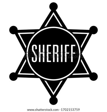 sheriff badge star in black and white Stock fotó ©