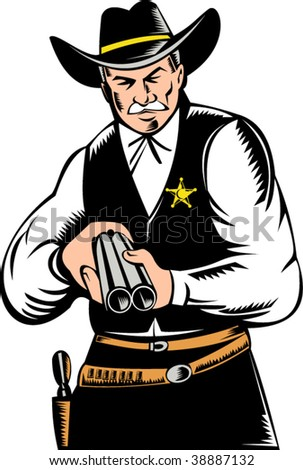 sheriff pointing a shotgun at