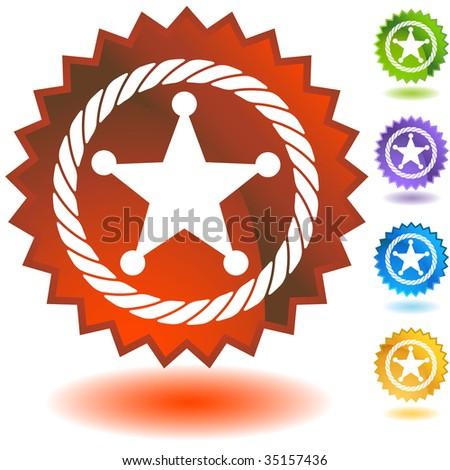 Sheriff Rope Badge Icon badge - stock vector