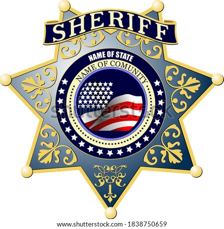 Sheriff's badge on a white background. 3d color illustration