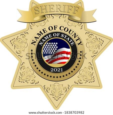 Sheriff's badge on a white background. 3d vector illustration Stock fotó ©