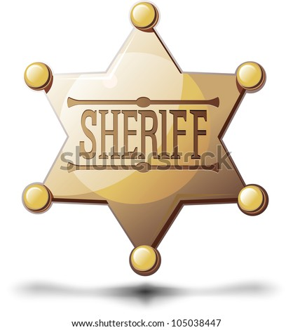 Sheriff's six pointed star on a white background with a shadow at the bottom - stock vector