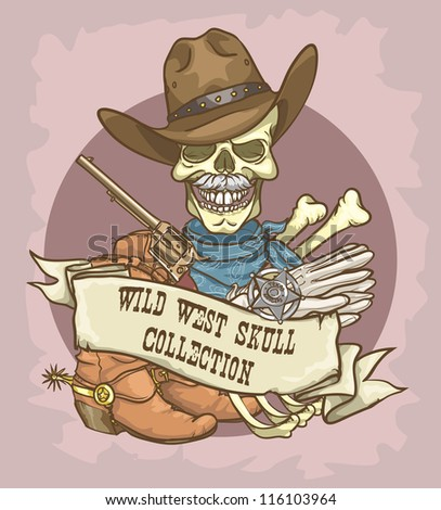 Sheriff's skull logo design - Wild West Skull Collection