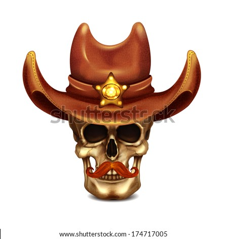 sheriff skull in cowboy hat