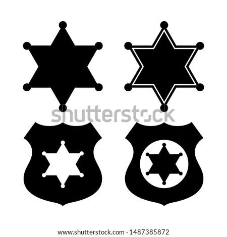 Sheriff star emblems set on white background Stock fotó ©