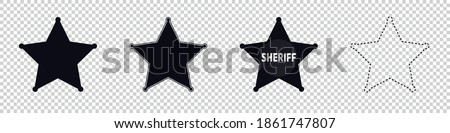 Sheriff Star Symbols - Different Vector Illustrations - Isolated On Transparent Background Stock fotó ©