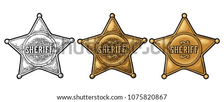 Sheriff star. Vintage color vector engraving illustration for western poster, web, police badge. Isolated on white background. Stock fotó ©