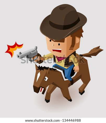 Sheriff with Revolver riding Horse. Vector Illustration