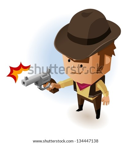 Sheriff with Revolver. Vector Illustration
