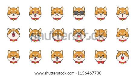 shiba inu emoticon filled outline design