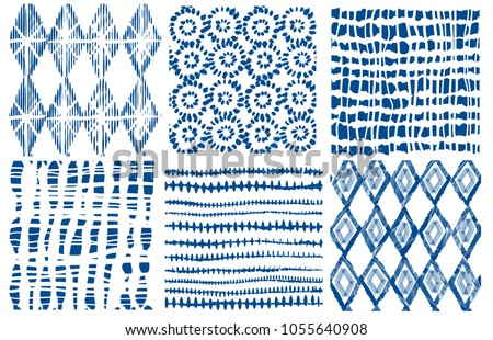 Shibori indigo seamless pattern. Vector indigo print
