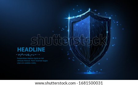 Shield. Abstract vector 3d shield isolated on blue. Data protection, business security, system safety, web secure concept. Antivirus screen, insurance guarantee, network firewall symbol