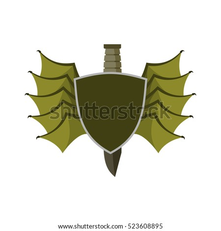 shield and bat wings emblem