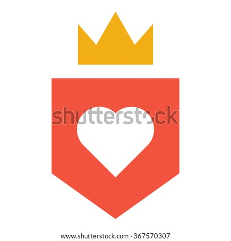 shield and crown and heart flat