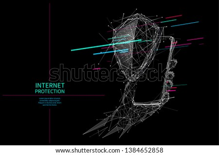 Shield and Phone in a hand. Abstract Low-poly wireframe vector technology illustration. Device screen and arm palm. Digital concept of protect or safe and security gadgets and devices themes.