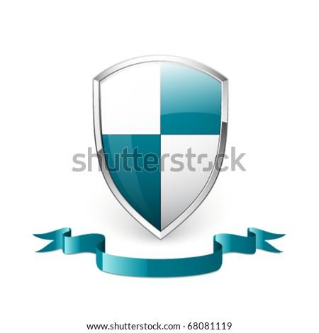 Shield and ribbon