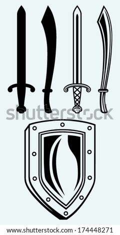 Shield and set dagger isolated on blue background