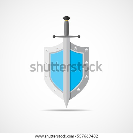 shield and sword in flat design