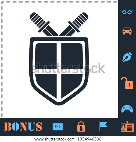 Stock Photo Shield and sword. Perfect icon with bonus simple icons