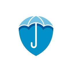 Shield and umbrella logo concept with flat concept in blue color