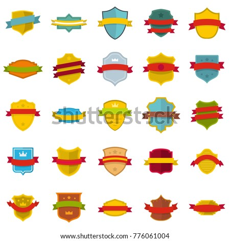 Shield badge icons set. Flat illustration of 25 shield badge vector icons isolated on white background #776061004