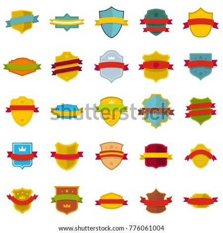 Shield badge icons set. Flat illustration of 25 shield badge vector icons isolated on white background