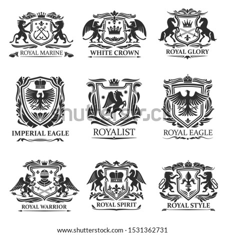 Shield badges and emblems vector design of royal heraldry. Heraldic coat of arms with lions, eagles and king crowns, knight swords, helmets and horses, griffins, pegasus, fleur-de-lis and leaf scrolls