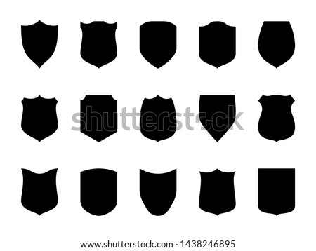 Shield blank emblems. Heraldic shields, security black labels. Knight award, medieval royal vintage badges isolated vector. Protect shape arms silhouette elements set.