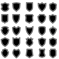 Shield blank icon vector set. security illustration sign collection. Knight award symbol. medieval royal vintage badges isolated.