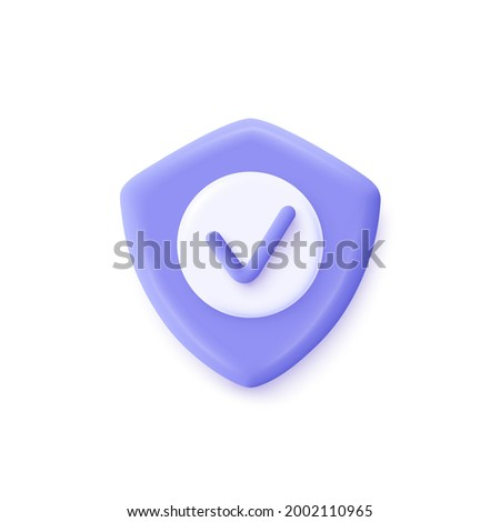 Shield check mark icon. 3d vector illustration. Security, guaranteed icon.