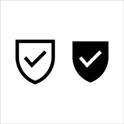 Shield Check Mark Icon Vector on white background