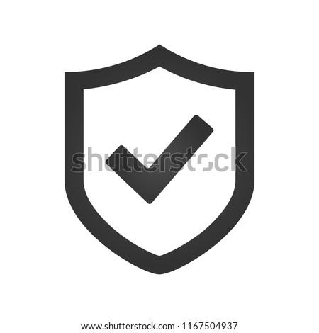 Shield check mark logo icon design template, vector illustration. Stock photo ©