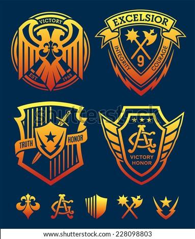 Shield crest emblem set
