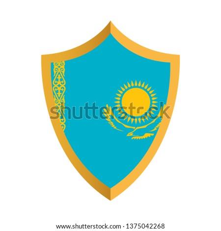 Shield emblem Flag of Kazakhstan, Kazakhstan flag template design. Vector Eps 10