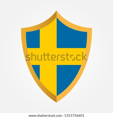 shield emblem with flag of