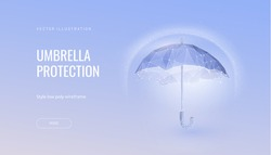 Shield futuristic vector illustration concept of protection and isolation from external risk factors. Polygonal glowing umbrella abtract isolated on blue background.