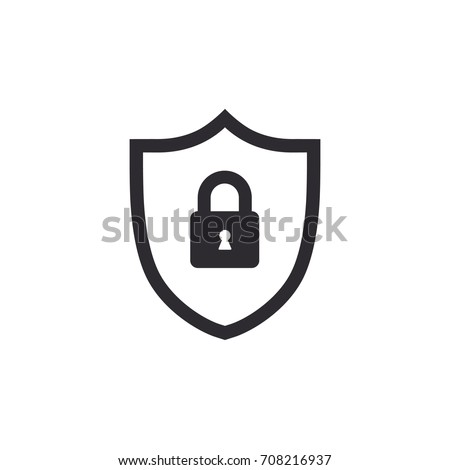 Shield icon. Security icon. Shield with lock. Protection icon. Secure access. Password protection. Safety system. Lock icon. Protection activated. Active safety. Guard badge. Padlock sign. Сток-фото ©