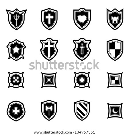shield icon set black and white