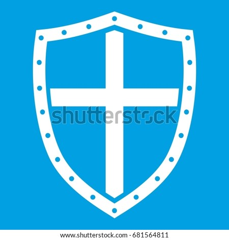 shield icon white isolated on