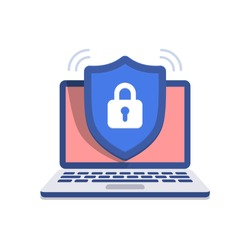 Shield icon with padlock on screen laptop. Security concept. Isolated vector illustration on black background.