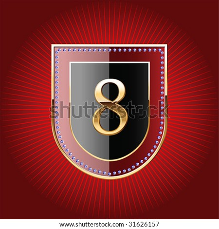 Shield in gold with alphabet digit 8
