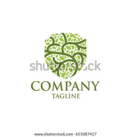 shield leaf icon vector logo