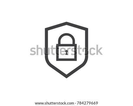 shield line icon. web security symbol. computer shield. email encryption privacy data protection. Internet VPN concept vector illustration