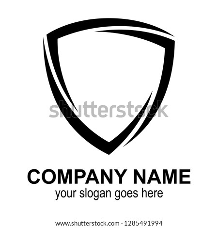 shield logo template ready for use, shielding icon in black and white color, security and protector symbol