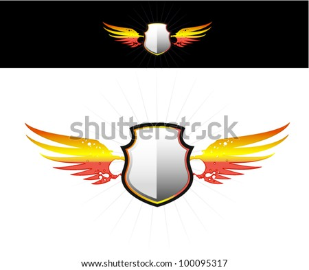 shield on flaming wings - stock vector